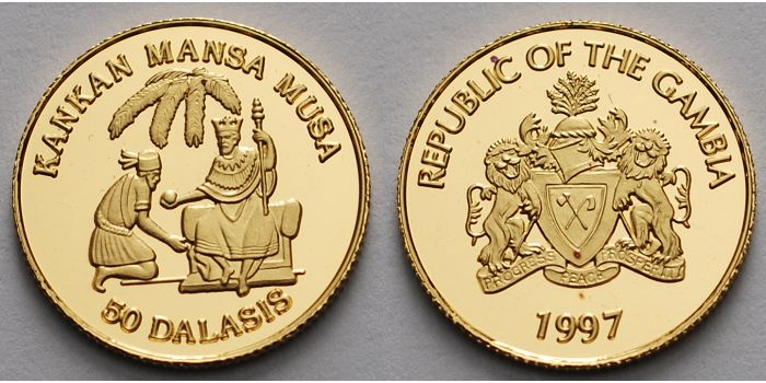 Republic of Gambia gold coin commemorating Mansa Musa