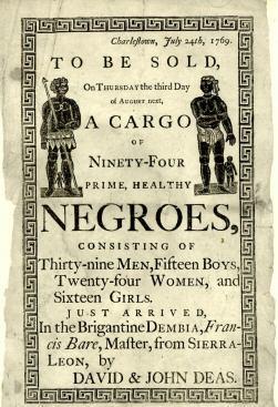 Handbill advertising a Slave Auction in Charleston 1789 public domain