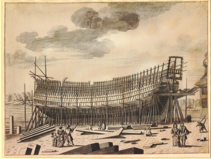 British sail ship of the slave trade era under construction