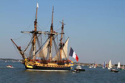 French sailing ship reconstructed in the 21st century