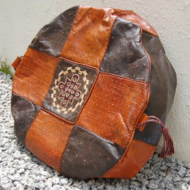 Hausa-Leather-Pouf-Round-1a_Poufs-of-the-Sahel_AfriMod