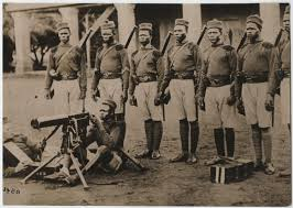 West African Frontier Force troops with machine gun